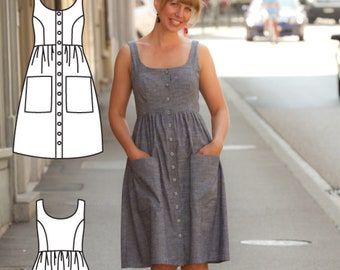 Button Down Dress Pattern - Midi Dress Pattern - Midi Dress Sewing Pattern - Midi Dress patterns- Pollyanna Pocket Dress Sewing Pattern