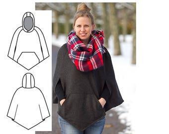 Cape Sewing Pattern. Womens cape pattern. Women's Sewing pattern Cape - Poncho sewing pattern