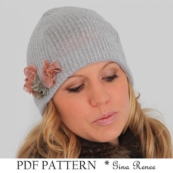 Easy sewing PDF pattern. Winter beanie hat pattern. | Etsy