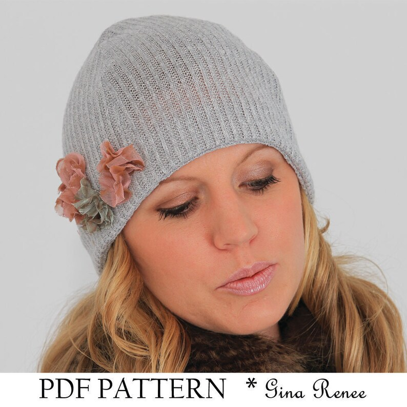 42126da9320 Easy sewing PDF pattern. Winter beanie hat pattern.