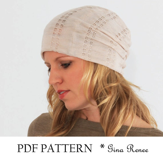 Slouchy beanie pattern. PDF Sewing pattern for Women. Slouchy | Etsy