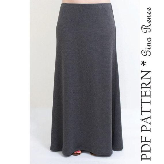Maxi Skirt Pattern. Womens Maxi Skirt Sewing Pattern.