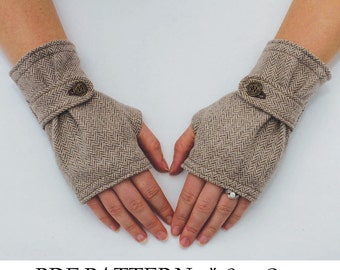 Fingerless Glove Pattern with Strap. PDF Glove Sewing Pattern.