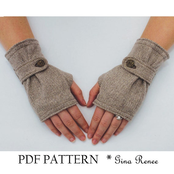 Fingerless Glove Pattern with Strap. PDF Glove Sewing Pattern. | Etsy