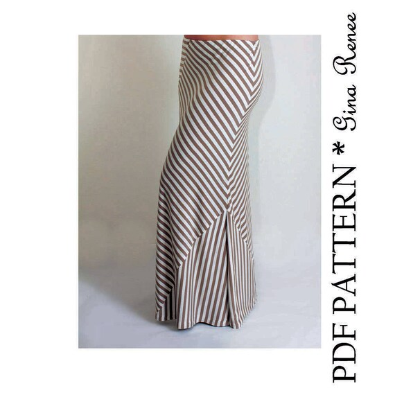 Maxi Skirt Pattern. Womens Skirt Sewing Pattern. Maxi Skirt