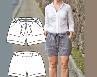 Penelope Shorts Sewing Pattern. Pants Sewing Pattern. Womens Shorts Sewing Pattern. Pants pattern. Tapered Trousers pattern women.
