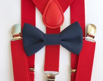 bf75ea98b8e Bowtie   Suspenders- Navy Cotton Bowtie Red Suspenders Baby and Toddler  Bowties Birthday Wedding Party