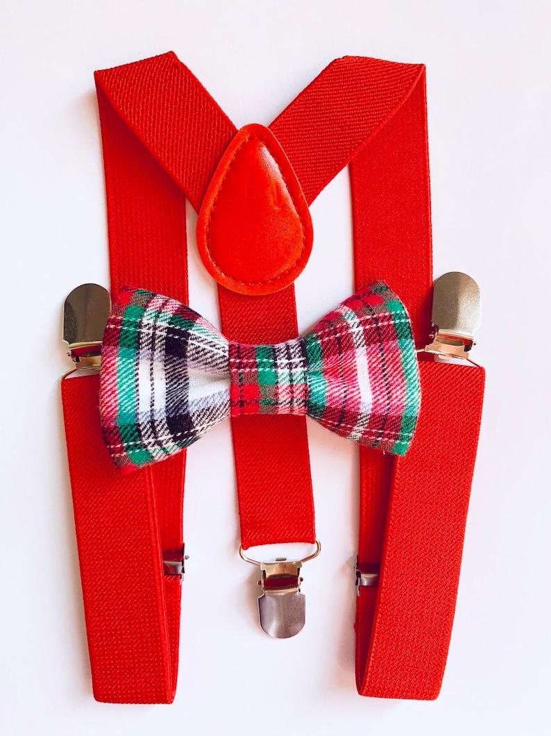 c33e94c57ddf Bowtie & Suspenders Christmas Plaid Flannel Bowtie/Red | Etsy