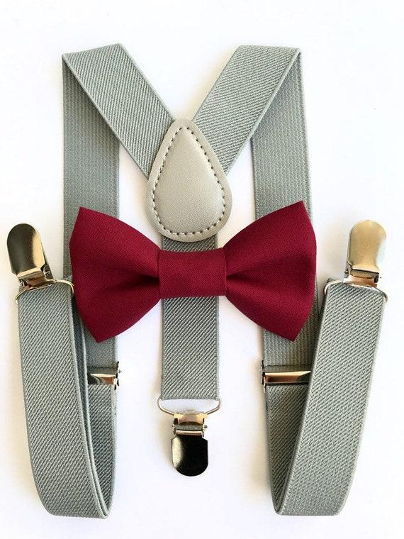 MEN BRACES SUSPENDERS Deep Grey Gray 25MM Wide  WORK  Bow Tie Bowtie Wedding