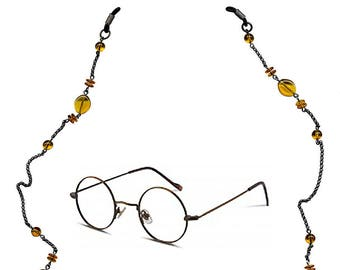 Eye Catching Eyeglass Chain with Three Different Shapes of Amber Glass Beads and Oxidized Sterling Silver Chain