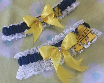 19c247f47 University of Michigan Wolverines UM Inspired Wedding Garter Belt Set w   White Lace Navy Blue Yellow