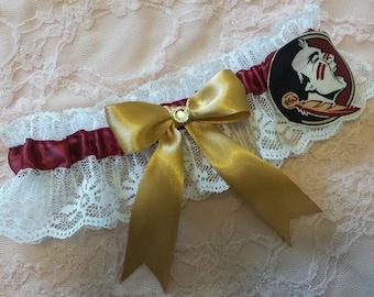Florida State University Seminoles Wedding Garter Set with charms Satin WWWW
