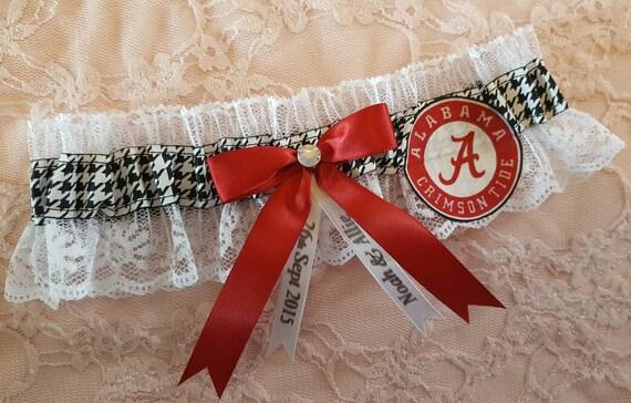 Houndstooth University of Alabama Crimson Tide Inspired White Lace Wedding Garter Belt Set