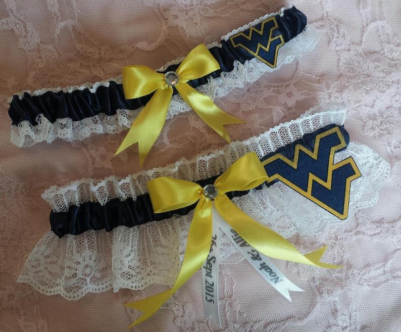 West Virginia University Mountaineers WVU Inspired White Lace Wedding Garter Belt Set
