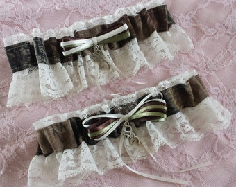 Hunting Deer Camo Camouflage Wedding Garter Belt Set w/ Ivory Lace Realtree Browning
