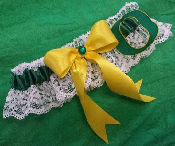 University of Oregon Ducks UO Inspired White Lace Wedding Garter Belt Toss or Set
