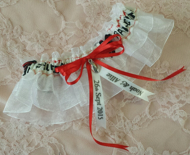 Atlanta Falcons Inspired Sheer Football Wedding Garter Belt