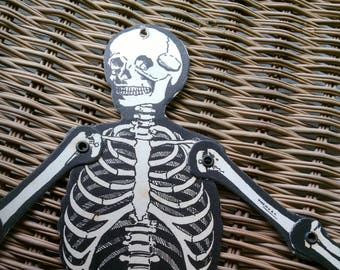 "Jointed Skeleton, Halloween Decoration, 13"" tall, Die Cut,Made In The USA, Beistle, Halloween, 1960s, Diecut, Antique, Vintage,  Biestle"