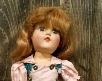 Antique Toni doll, vintage Ideal P-90, hard plastic, original dress, toni home permanent, redhead, doll,  green dress,