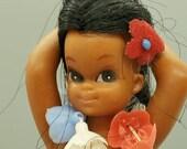 Vintage 1960s Hawaiian Girl Hula Dancer Dashboard Nodder Rubber Hong Kong Collectible doll Free USA , Big Eye, Kawaii