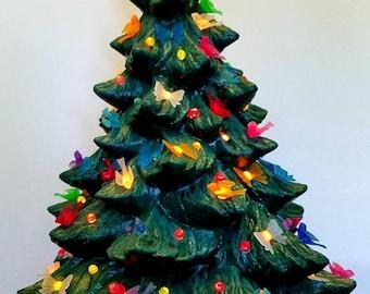 90s ceramic tree 17 tree lightup ceramic tree antique ceramic tree ceramic christmas christmas tree vintage tree christmas ornament - Ceramic Light Up Christmas Tree