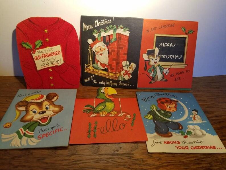 Weihnachtskarten Comic.Antike Weihnachtskarten In Originalverpackung Comic Weihnachtskarten 1950er Jahre Weihnachtsschmuck Unbenutzt Mid Century Jahrgang Neuheit