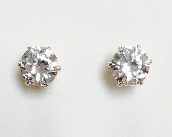 Magnetic Studs STERLING SILVER 8mm Cz Gemstone, Large 2 CARAT Ea. Stud Non-pierced Earring Clip-on, Faux Diamond Magnetic Earrings Round