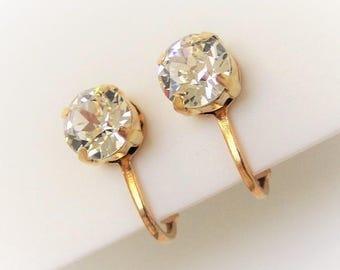 Rhinestone Clip-on Earrings Faux diamond clip-on earrings Non-pierced earrings Clear faceted stone Crystal clip-on earrings GOLD plt., New