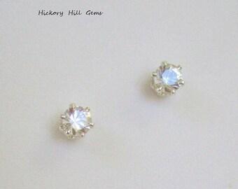 0379c2f47 Herkimer Diamond Stud Earrings 4mm Stone Sterling Silver NATURAL Gemstone  SMALL Clear Gemstone Genuine Herkimer Gem Stud New York Mined USA