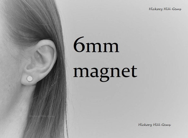 Magnetic Earring Backs 6mm magnet Magnetic Stud Earrings Jewelry Crafts 1 pair one quarter inch wide Round Magnet Silver Tone magnets