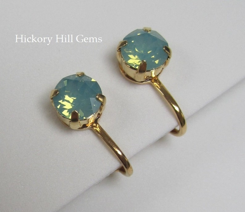 Clip-on Earrings Blue Green Swarovski Crystal Pacific Opal image 0