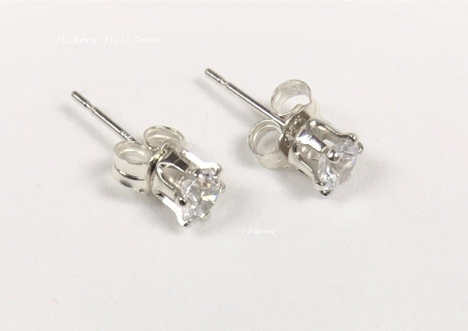 cbd2e9c8be Small Stone Studs CZ & Sterling Silver, 4mm cz stud earrings Jewelry Gift  for Her Ready to Ship small gemstone studs pierced Handmade in USA