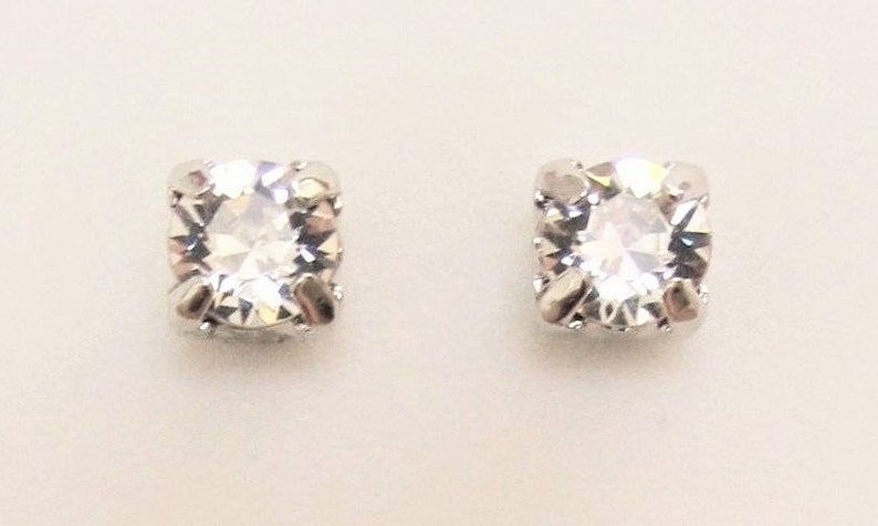 eec7ab6c3 MAGNETIC EARRINGS Crystal Stud Style SWAROVSKI Crystal Clear | Etsy