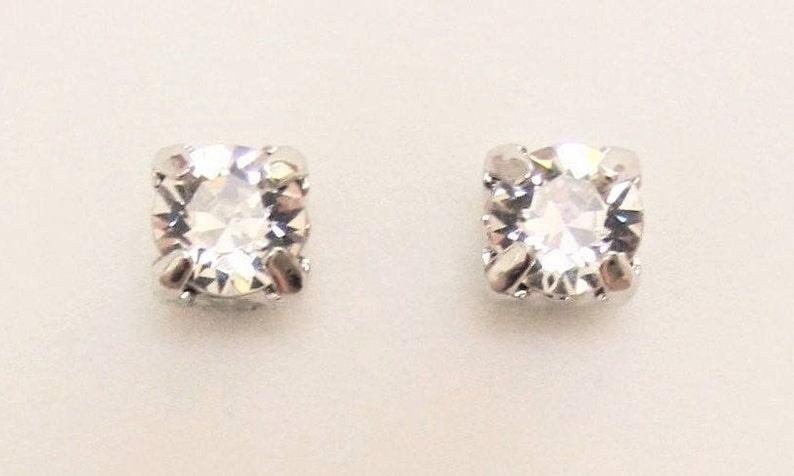 0ee0f30fdcf MAGNETIC EARRINGS Crystal Stud Style SWAROVSKI Crystal Clear