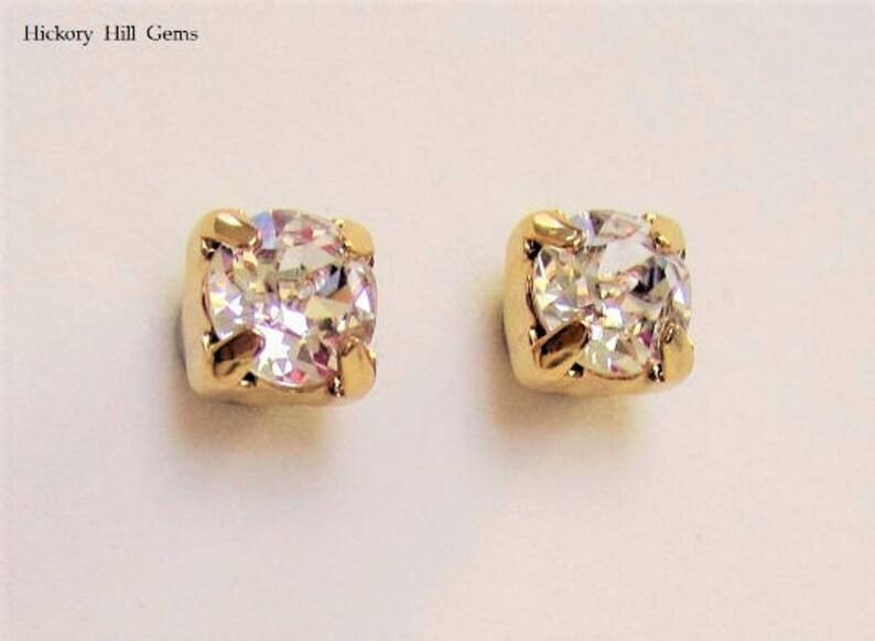 041b7b137 6mm Magnetic Stud Earrings Clear Stone Swarovski Crystal GOLD | Etsy