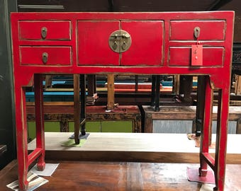 FREE SHIPPING WITHIN U.S. Chinese Console Table In Lacquered Red (Los  Angeles)