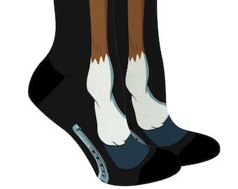 Horse Socks Horse Show Socks Horse Lover Gift Boot Socks Equestrian Gift Custom Horse Socks Good Luck Socks