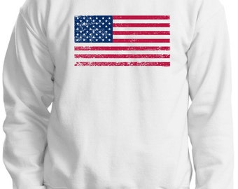 Tattered American Flag Crewneck Sweatshirt 18000  - US-107