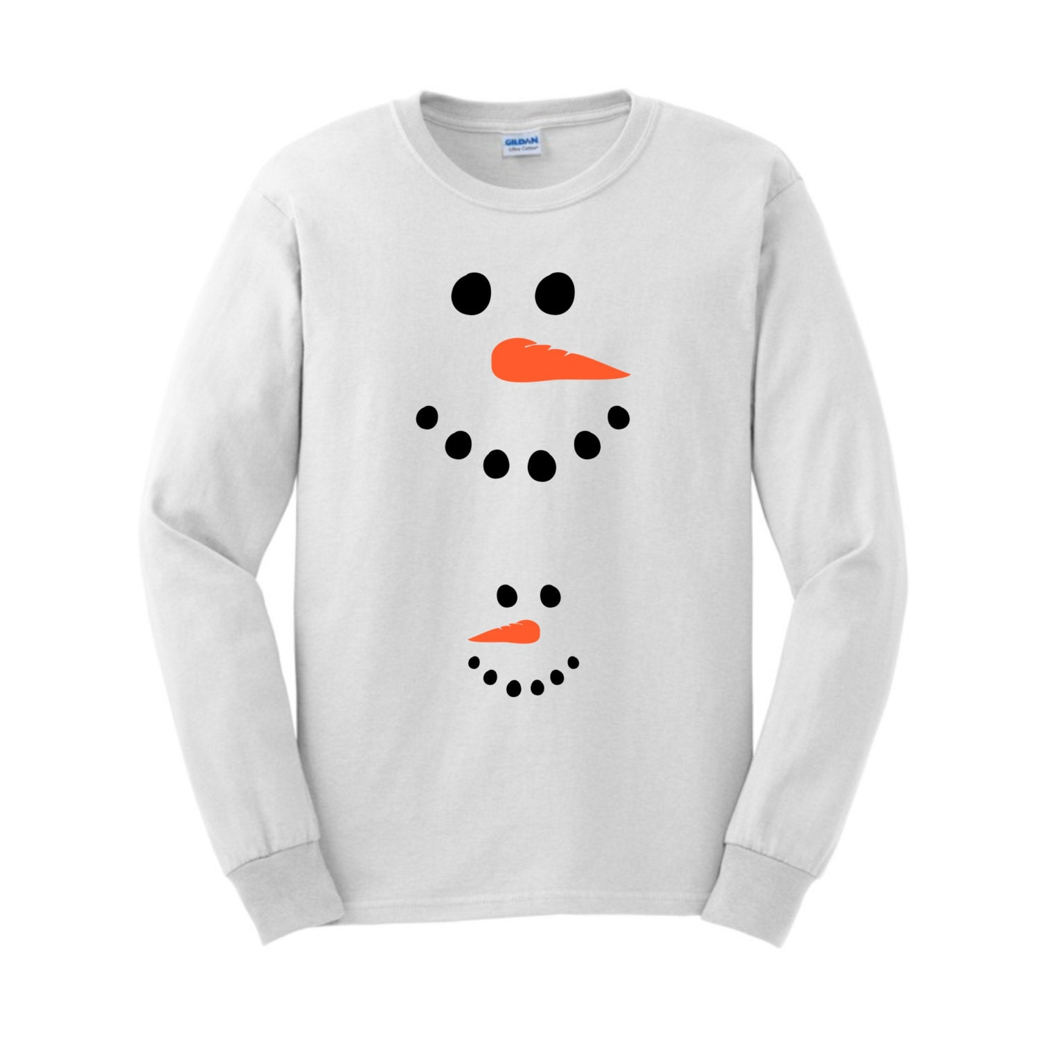 Funny Snowman Mom And Baby Face Maternity Themed Long