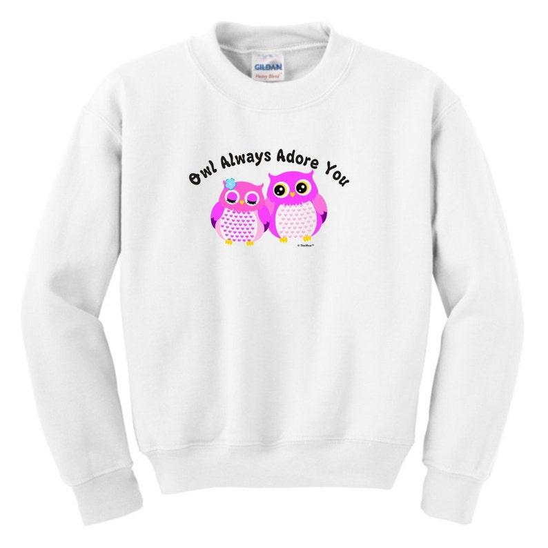 HS-329 Owl Always Adore You Youth Crewneck Sweatshirt 18000B