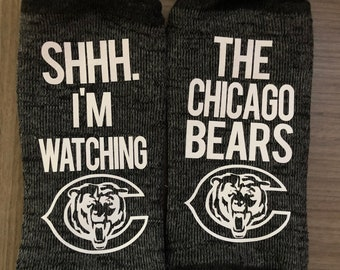 5f8b58ba27f35e Customizable Socks- Shhh. I'm Watching The Chicago Bears