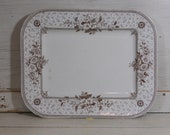 Antique Brown Transferware Platter - 1800 39 s - English Pottery - Melrose Cliff