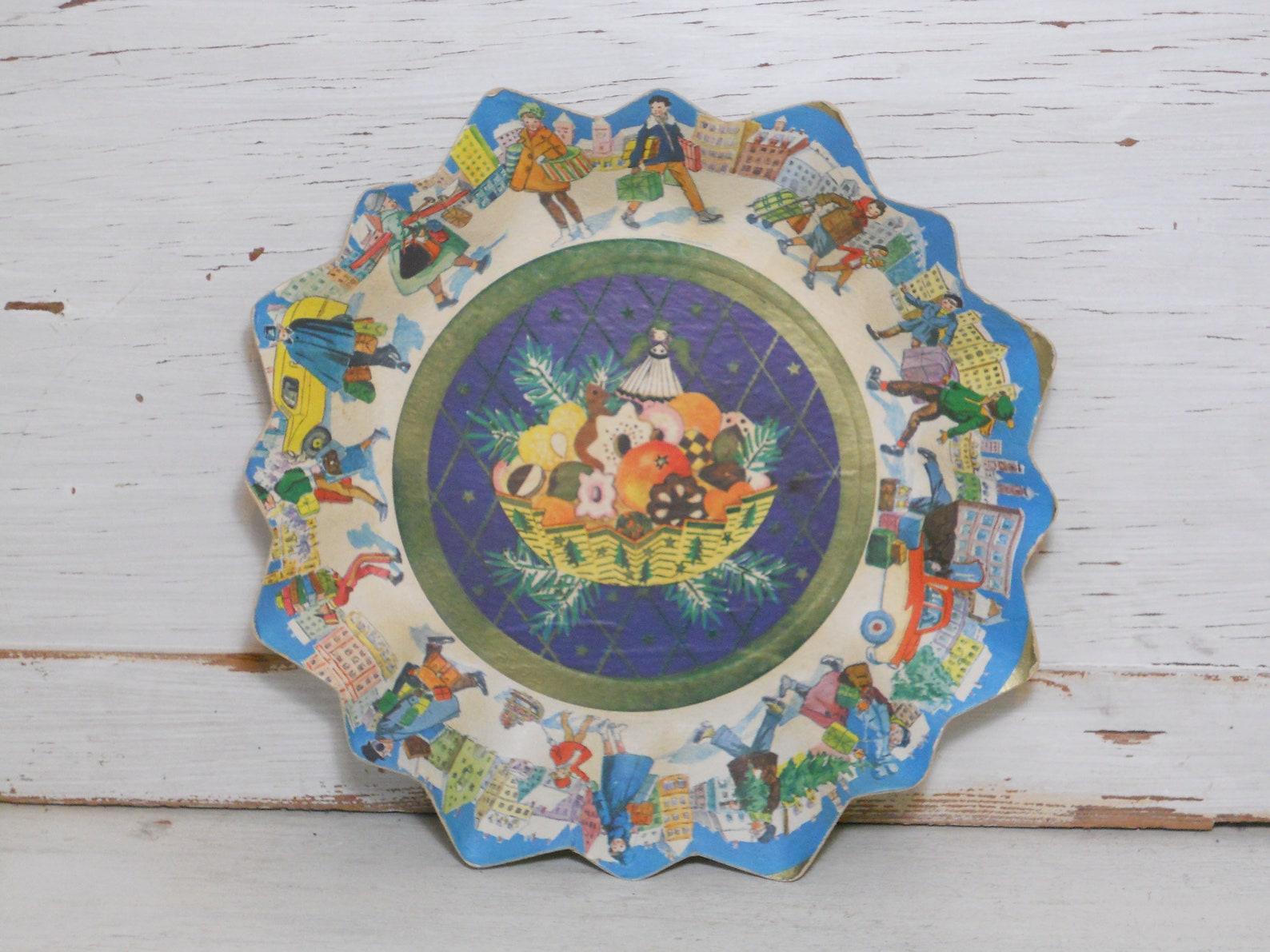 Vintage German Christmas Paper Plate - Christmas Village