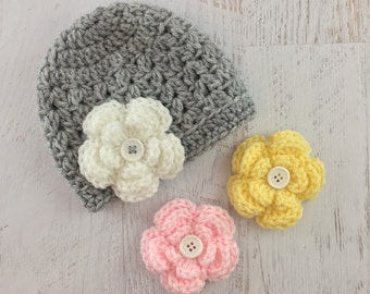 Crochet Baby Girl Hat, Crochet Flower Hat, Newborn Hat, Photoshoot Hat, Baby Girl Flower Hat, Removable Flower Hat, Baby Hat, Newborn Hat