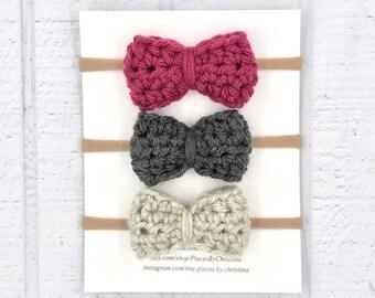 Baby Headband, Nylon Baby Headband, Felt Headband, Baby Bow Headband, Bow Headband Set, Newborn Headband, Baby Girl Headband