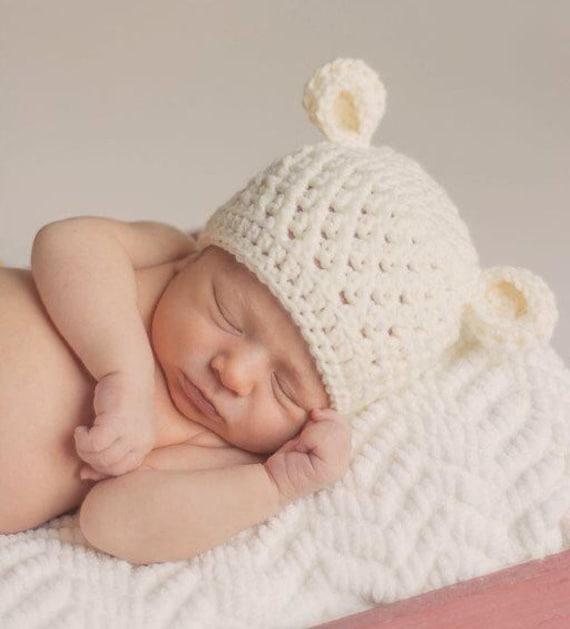 3a23f27ab252 Chapeau bébé garçon bébé garçon Bonnet ours au Crochet   Etsy