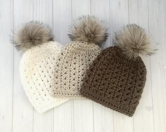 Baby Girl Hat, Baby Girl Beanie, Slouchy Baby Hat, Baby Photo Shoot, Baby Boy Hat, Baby Boy Beanie, Faux Fur PomPom Hat, Pom Pom Hat