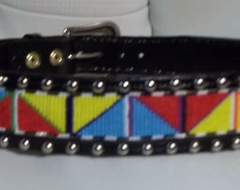 Handmade leather belt with spots