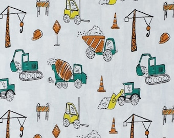 Fitted Flannel crib sheet: Construction Trucks