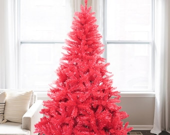 Perfect Holiday Red Artificial Christmas Tree 6 ft Unlit